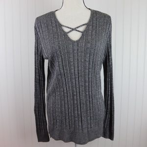 Apt. 9 Soft Knit Pullover Top Criss Cross Neckline